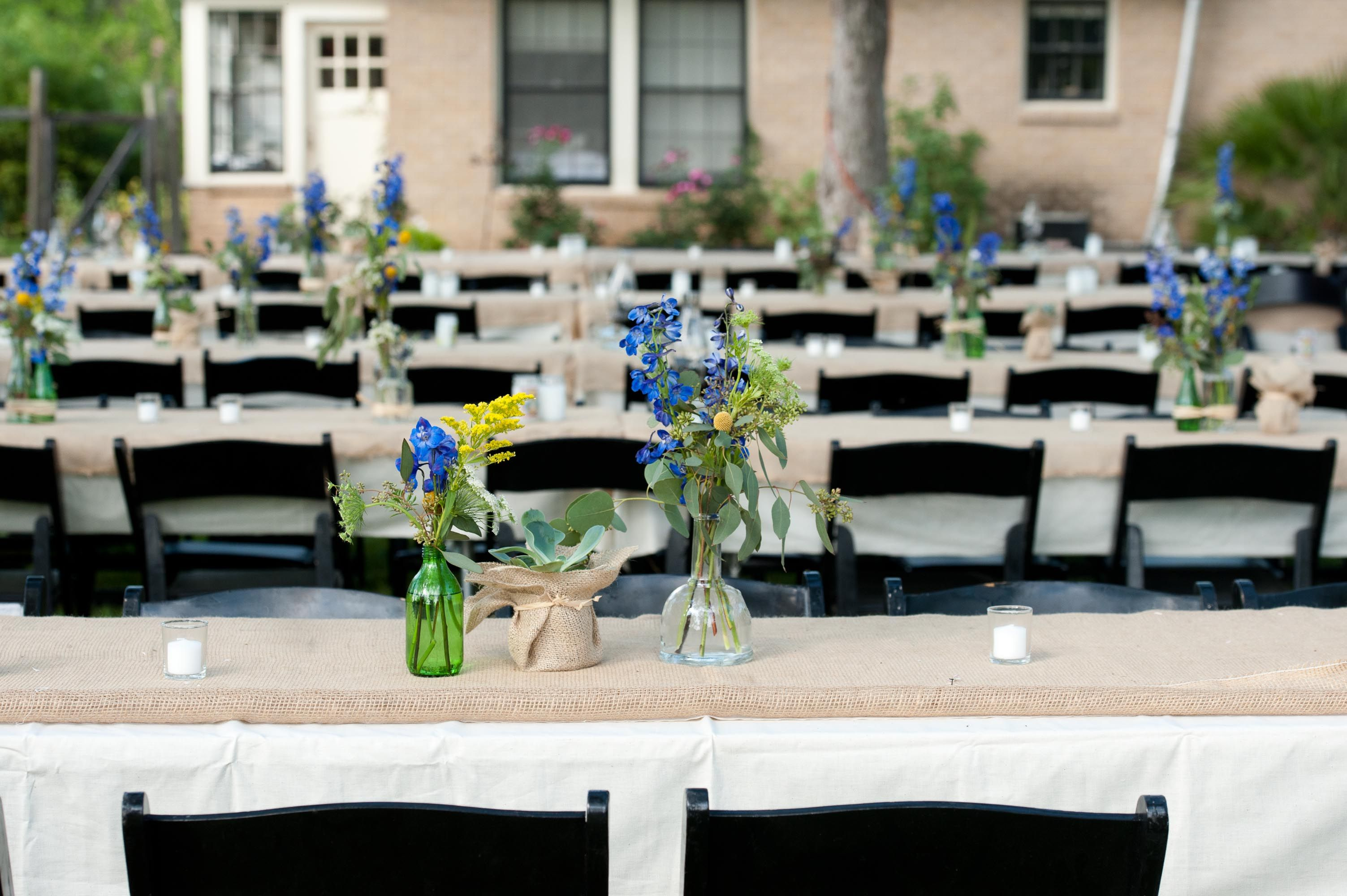 Burlap Wrapped Reception Tables Reception table, Wedding