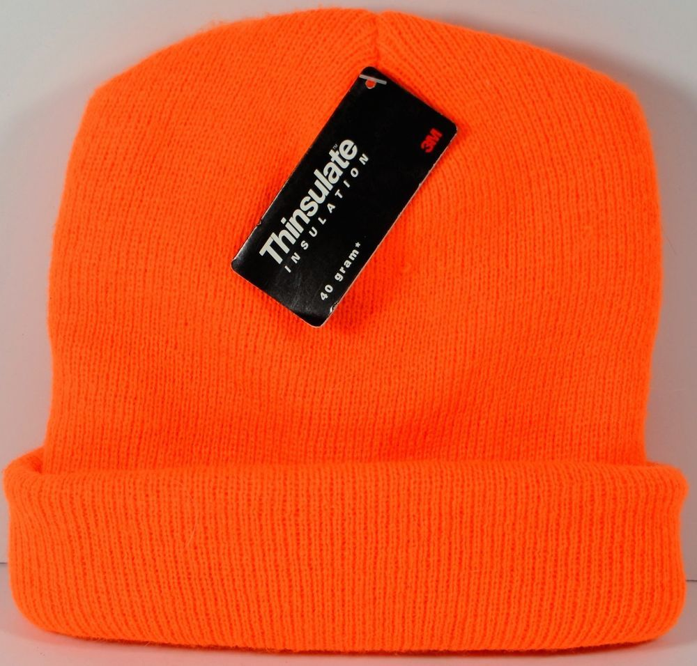 Orange Knit Beanie Stocking Cap New 3M Thinsulate Insulation Ski Snow Hat   3M  Beanie b43cef61cf6