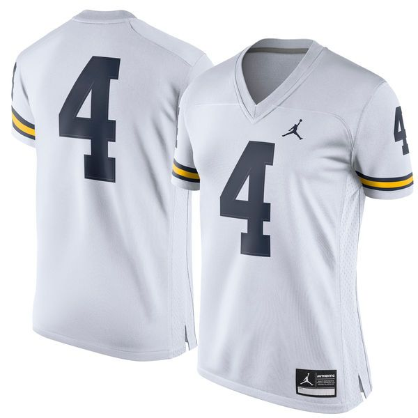d6b8be925f8 Brand Jordan #4 Michigan Wolverines Women's White Game Replica Football  Jersey
