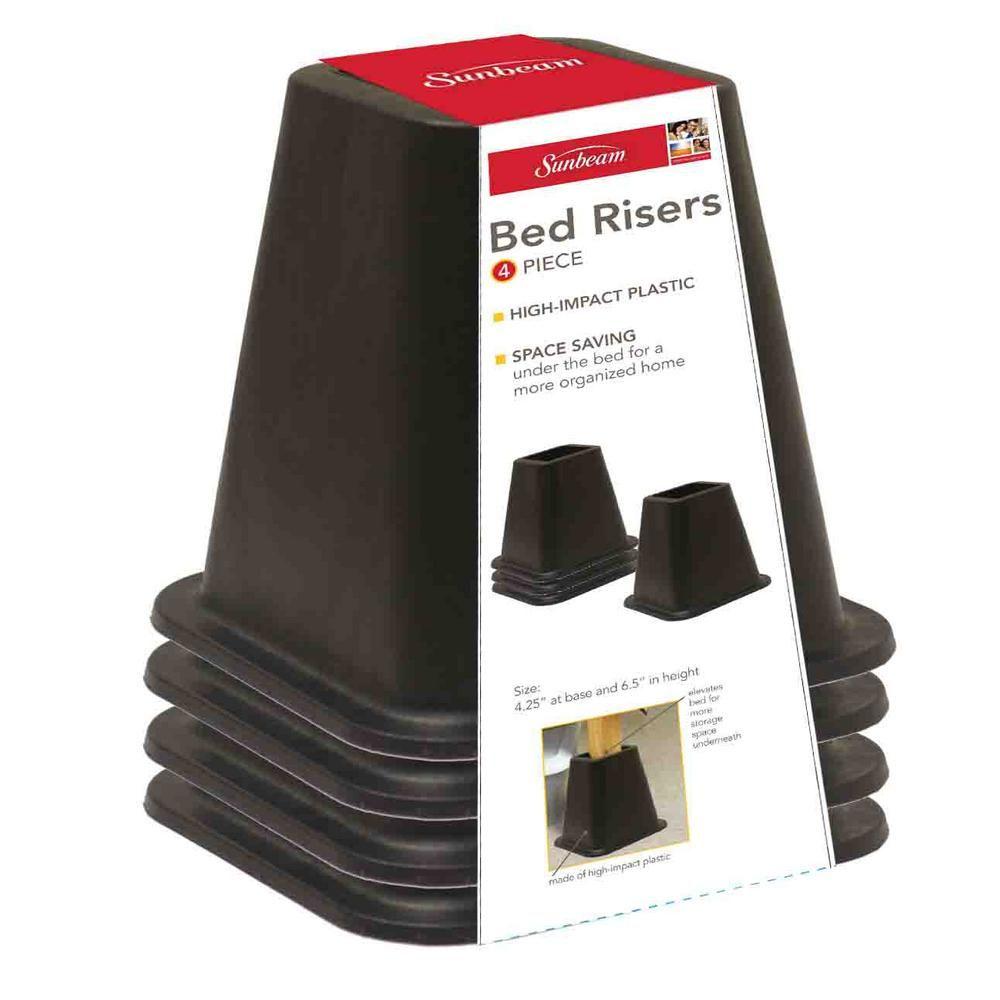 Sunbeam Black Plastic Bed Risers Set Of 4 Bed Raisers Bed
