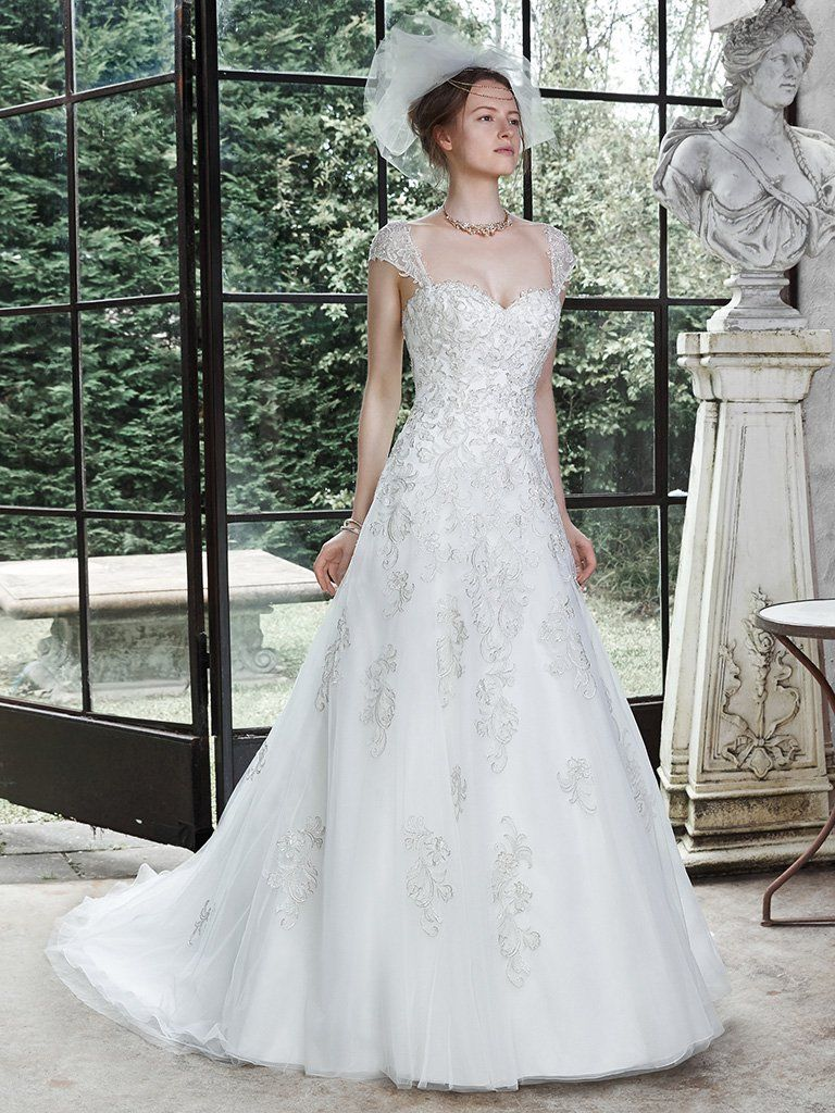Lace cap sleeve a line wedding dress  Maggie Sottero Wedding Dresses  Lace Corsets and Wedding