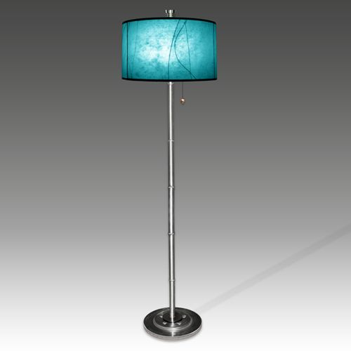 Turquoise Glass Lamp   Fiona Bleu Gallery: Blue Round Shade Floor Lamp