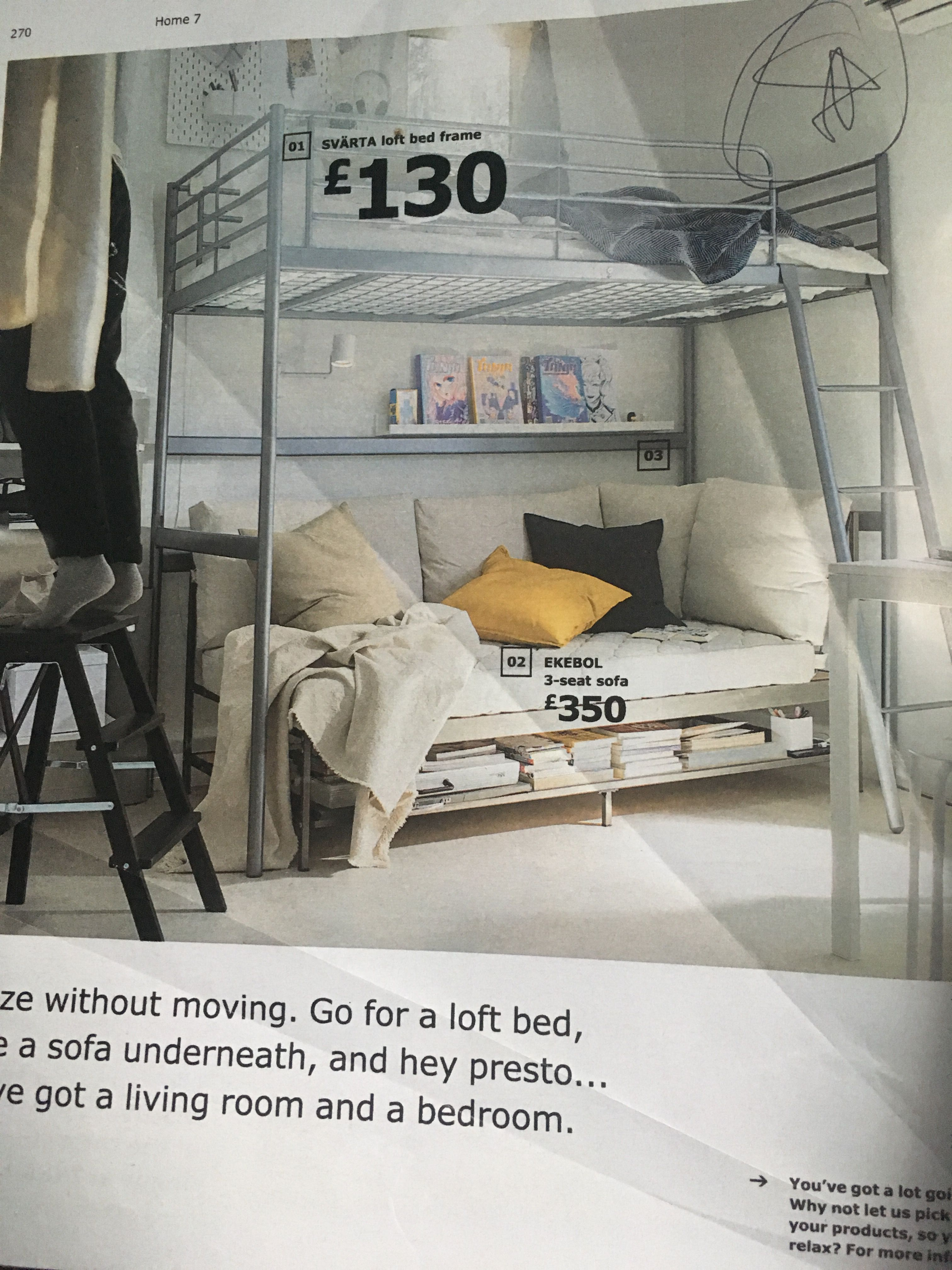 Ikea Svarta Loft Bed Frame Ekebol 3 Seat Sofa Loft Bed Frame