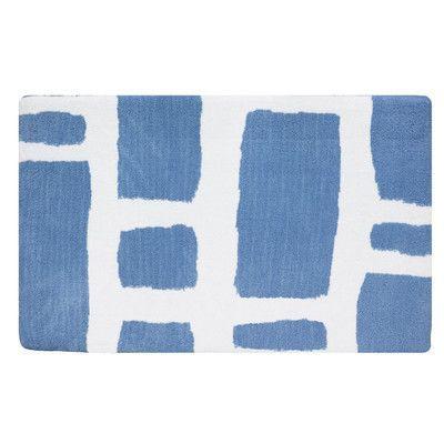 Fabbrica Home Modern Memory Foam Bath Rug Color Sky Blue White