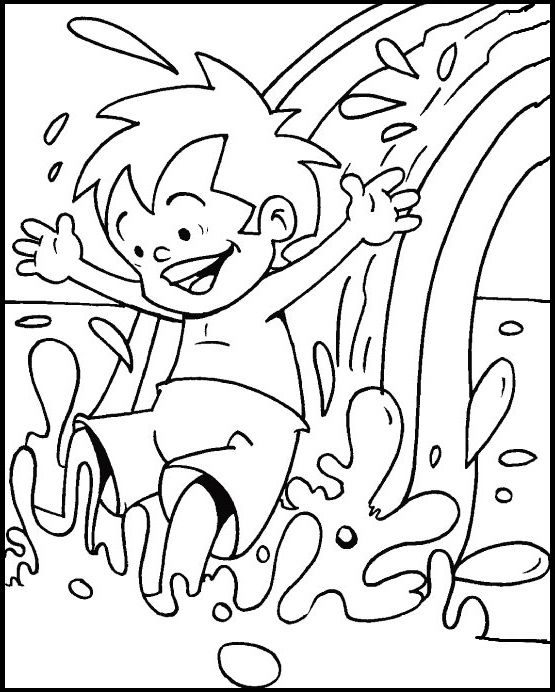 gliding on swimming pool in the summer coloring picture