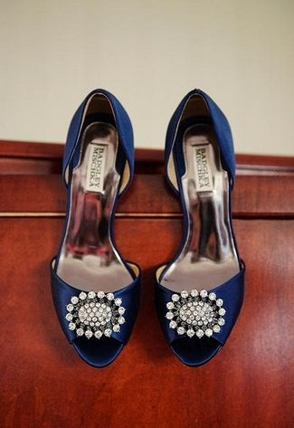 Nautical Wedding in Navy Blue & Pink | Confetti Daydreams - Embellished navy blue wedding heels ♥