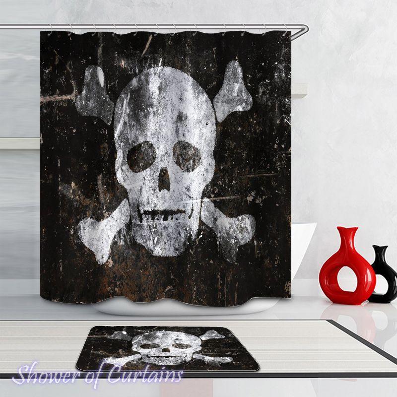 Skull And Bones Shower Curtain Hxtc0156 In 2020 Fabric Shower