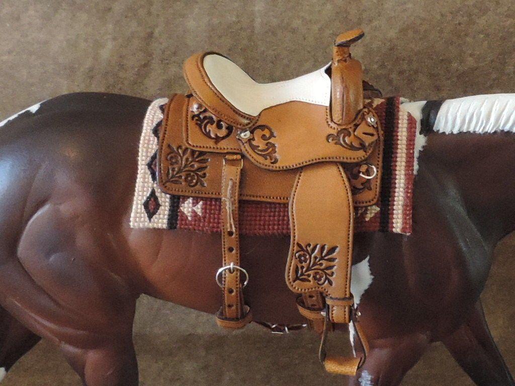 Trad CM LSQ Breyer//Peterstone Black Western Saddle Set Genuine Real Leather
