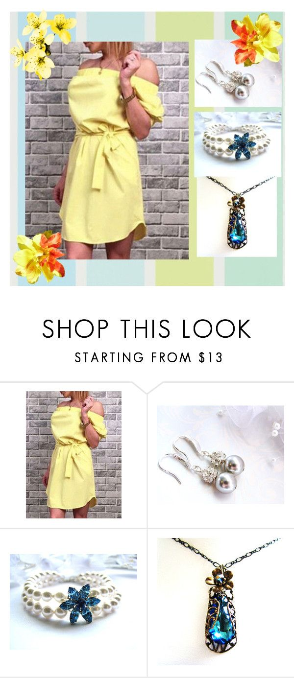 Yellow dress with blue jewelry yellow dress and polyvore