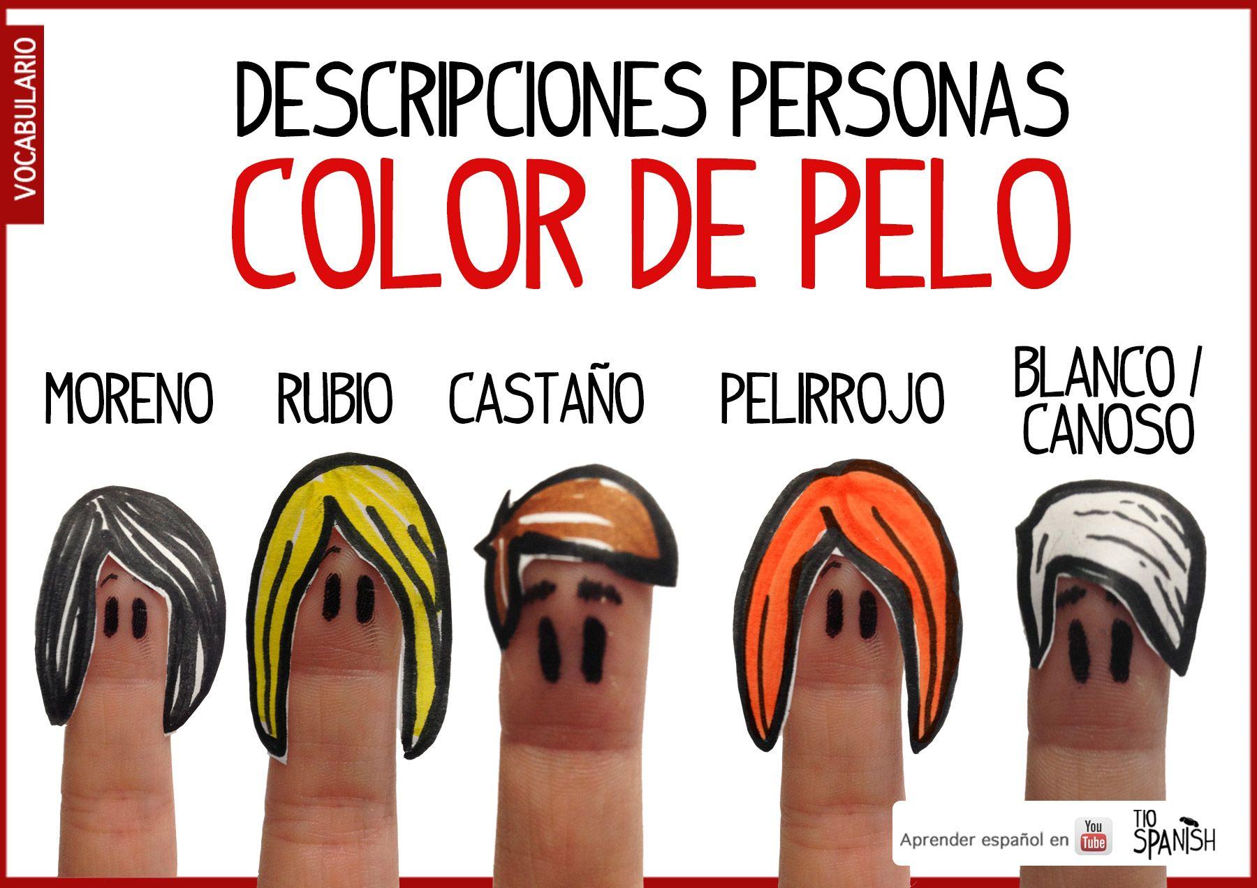 Describir Personas En Espanol Por Color De Pelo Vocabulario Espanol Intermedio