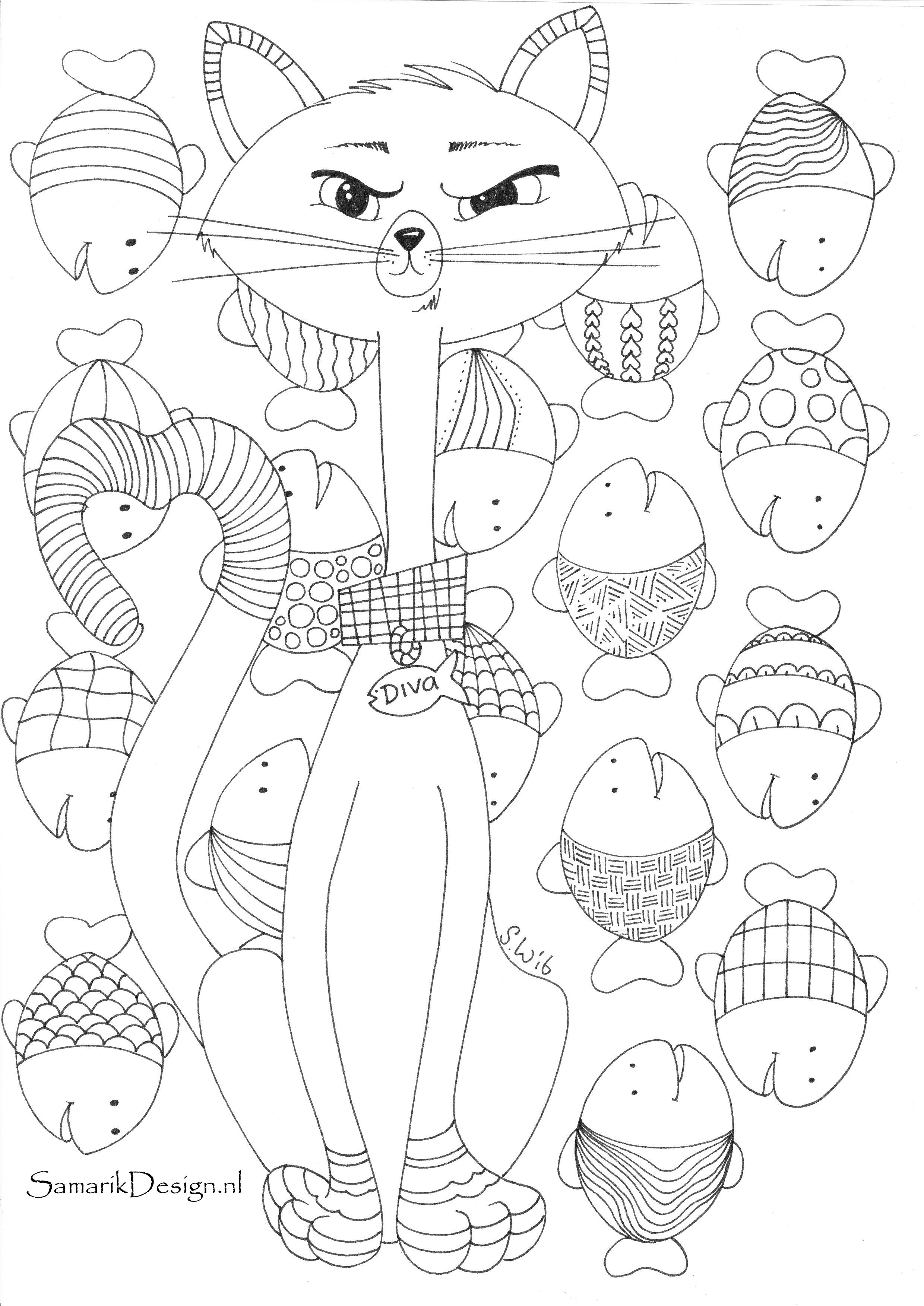 Cat coloring page | Cat coloring page, Dog coloring page ...