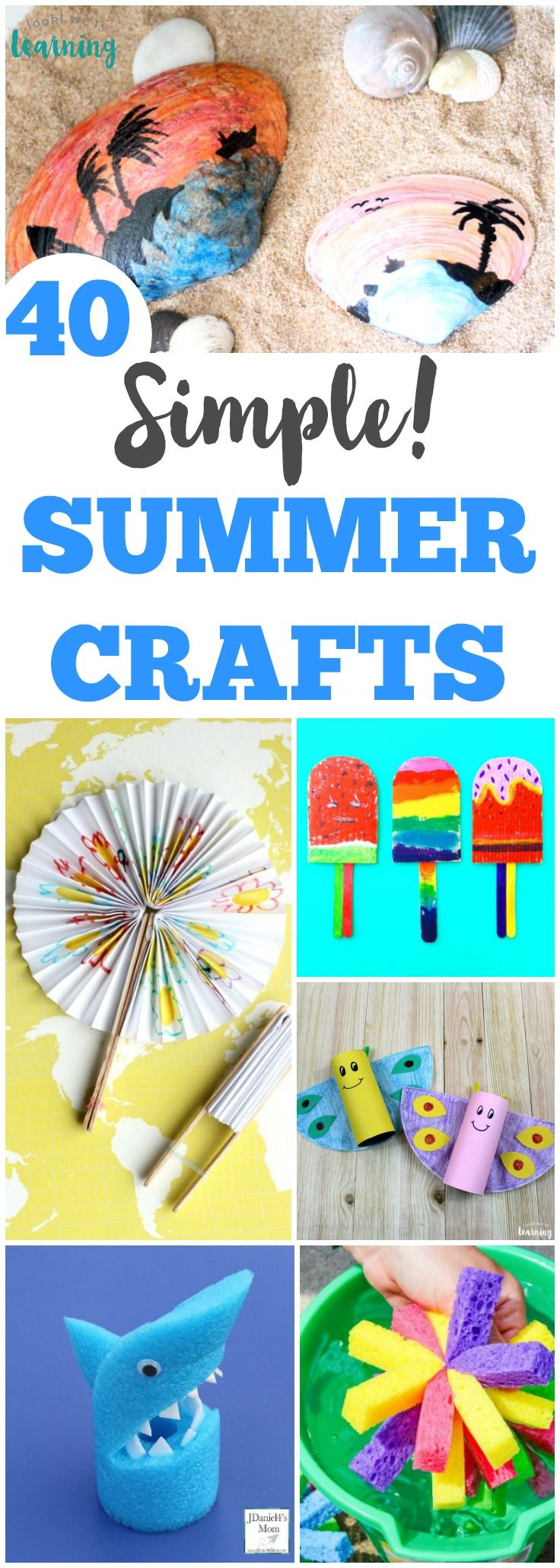 40 Simple Summer Crafts for Kids is part of Simple Kids Crafts Summer - Share some easy crafting fun with the kids this summer with this list of simple summer crafts!
