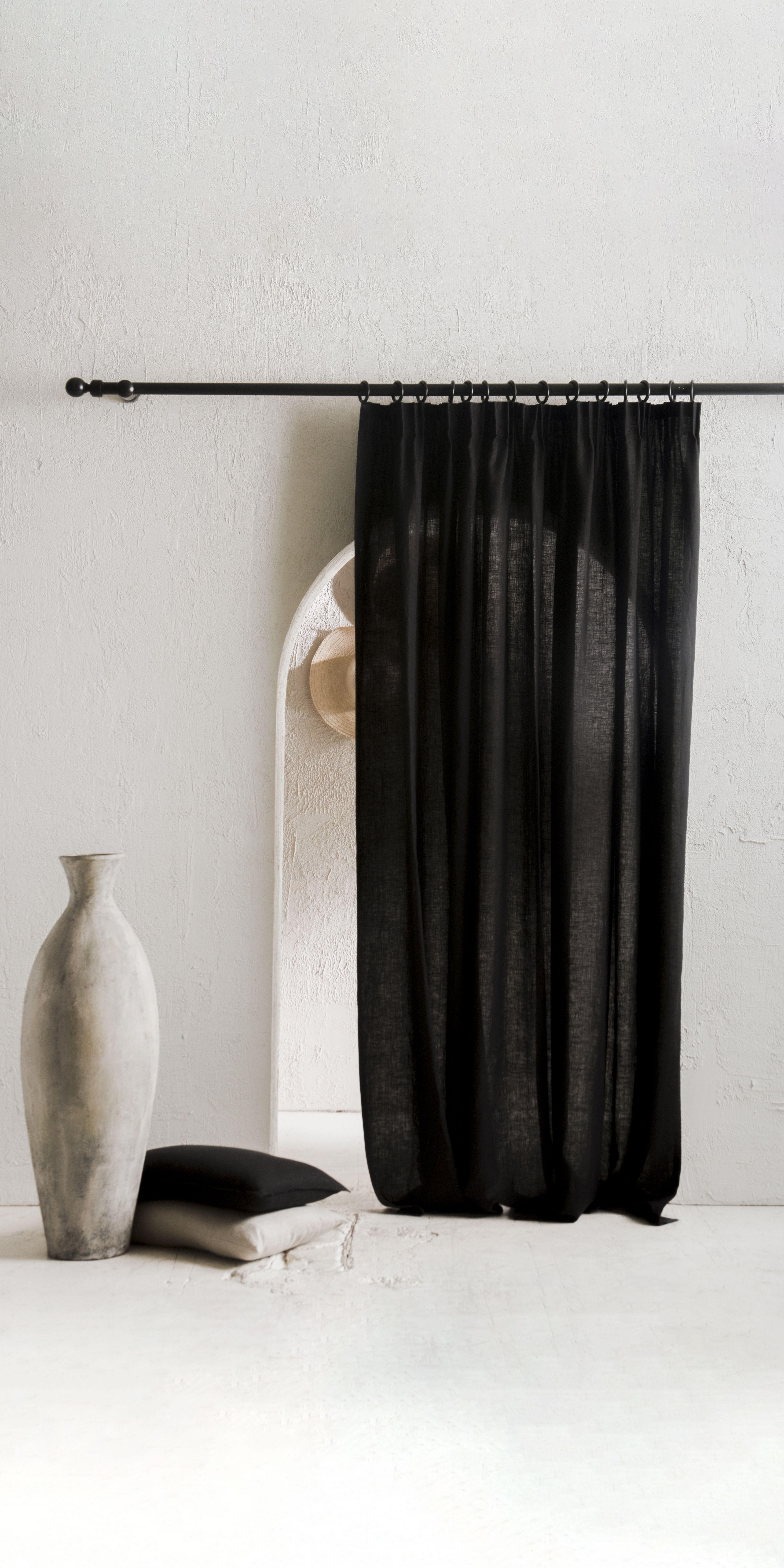 Pencil Pleat Linen Curtains Window Curtains 23 Colors Blackout
