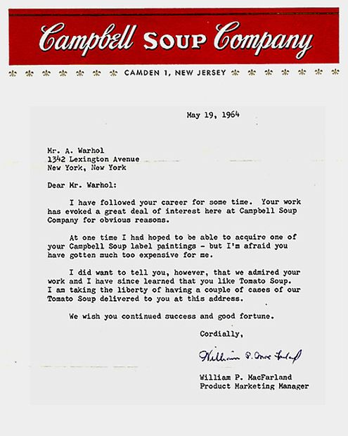 This is great Campbell Soup letter to Andy Warhol Retrospective