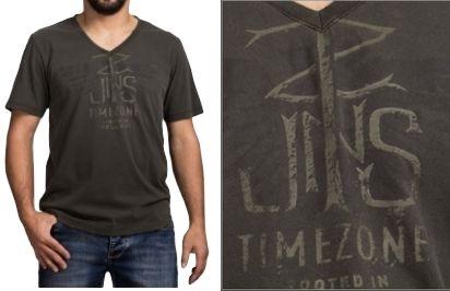TimeZone V-neck T-shirt-Vintage Grey