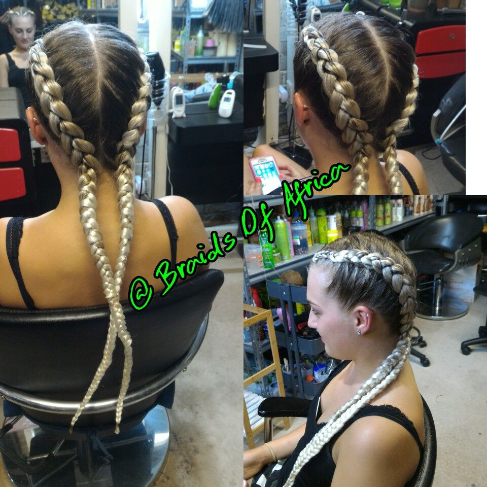 Two Cornrow Braids With Blonde Hair Extensions Two Cornrow Braids Braids With Extensions Blonde Hair Extensions
