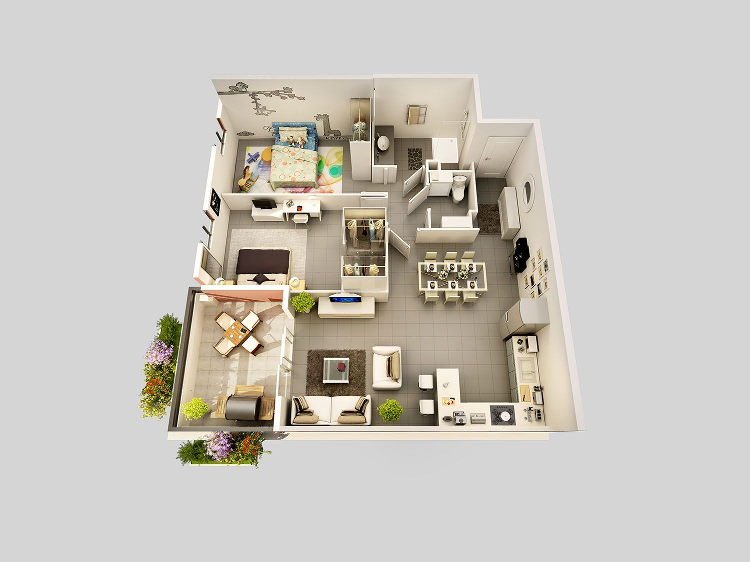 Plan 3d d 39 appartement pour la commercialisation d 39 un for Plan appartement 3d