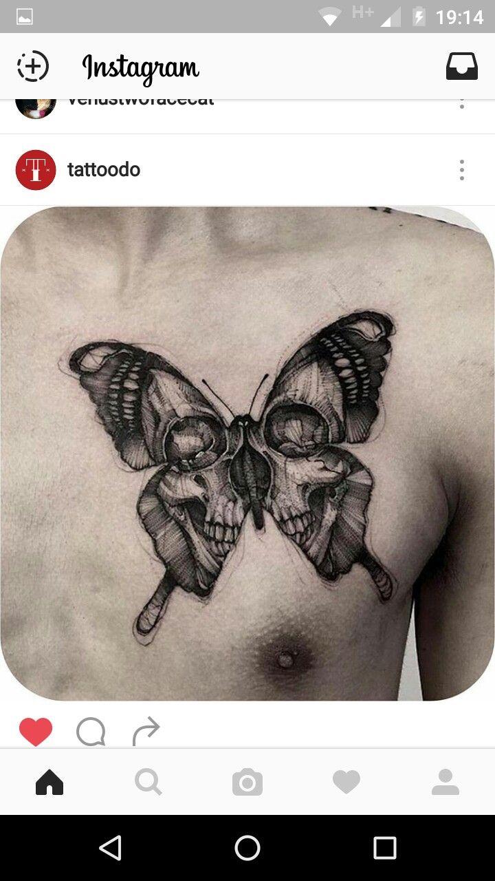 Mariposa Calavera Tattoo Diseno De Tatuaje De Calavera Tatuajes De Arte Corporal Brazos Tatuados