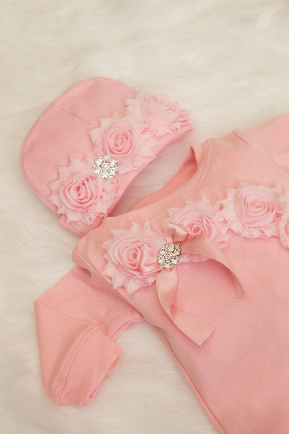Rosa bebé niña mameluco Set enterizos para bebé por MyLolliflopsLLC ...
