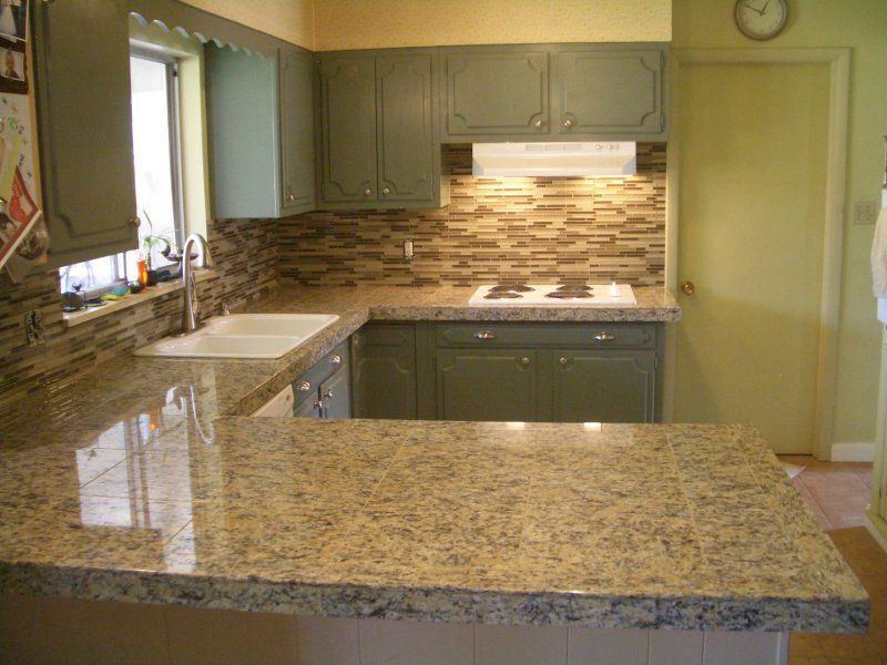 Kitchen Granite Tile Countertop And Glass Backsplash Tile