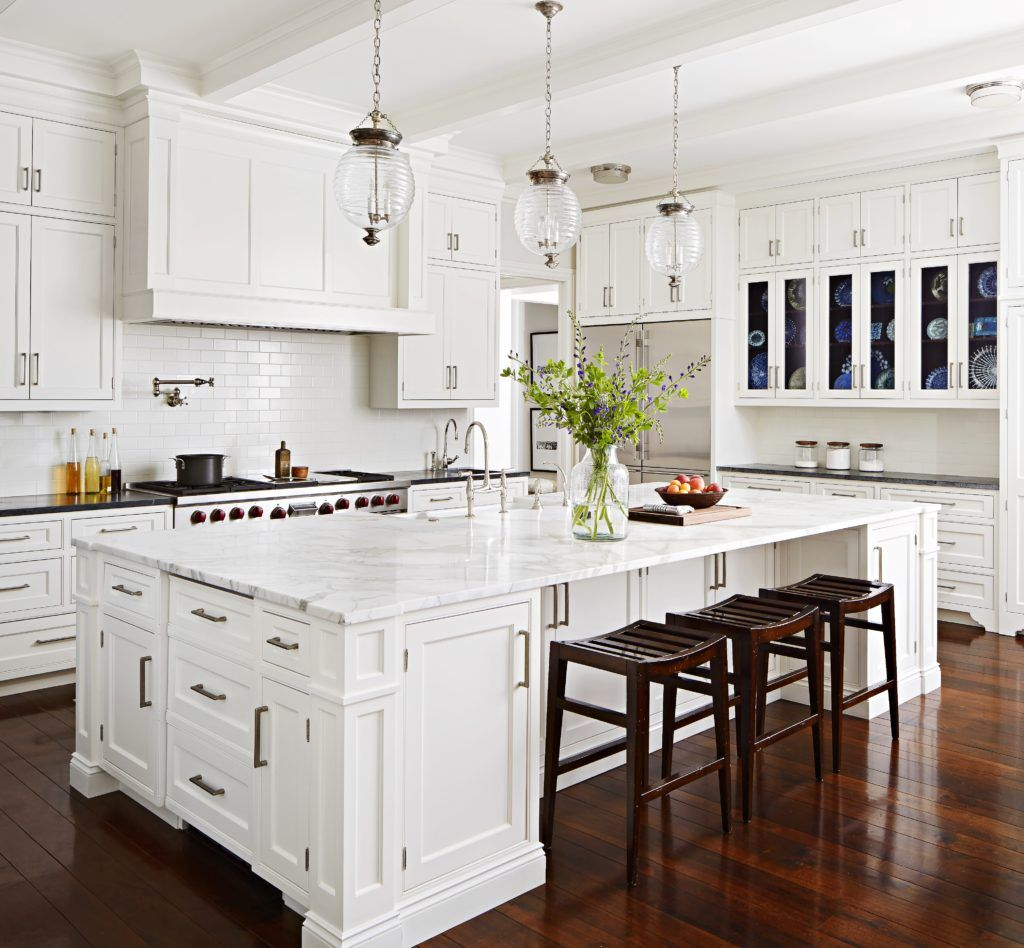 30 Brilliant Kitchen Island Ideas That Make A Statement: White Cabinetry, Subway Tile Back Splash, Brushed Nickel