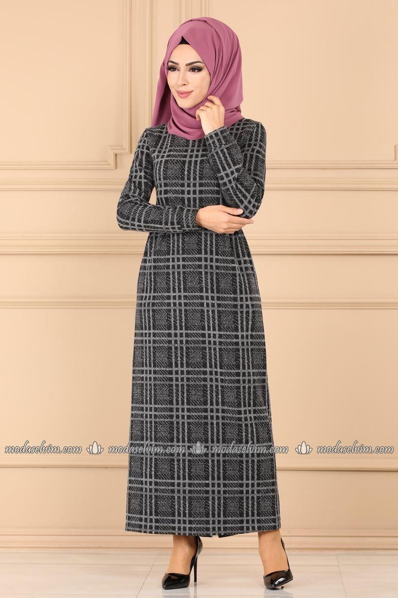Moda Selvim Ekose Tesettur Elbise 6062ukb139 Gri Moda Kiyafet Elbise