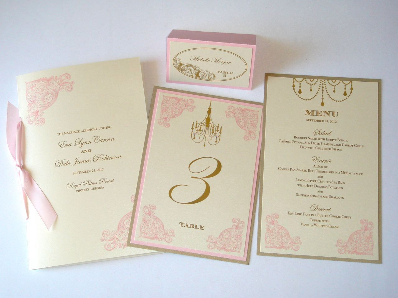 Eva Vintage Wedding Reception Stationery - Menus, Table Numbers ...
