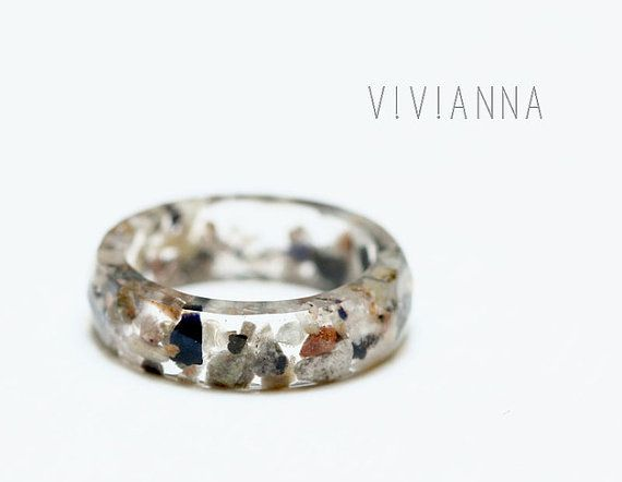 Resin ring with beach stones from the North Sea R071 *