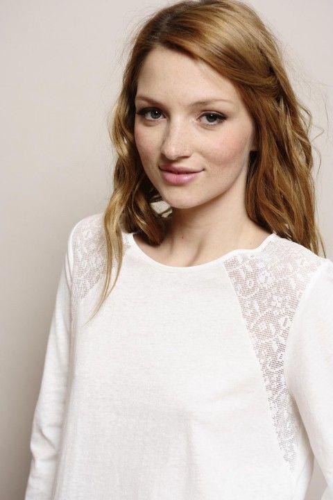 t-shirt m. longues Nana écru jersey 85% coton/15% lin + dentelle 56% coton et 44% nylon - tee shirt Femme - Des Petits Hauts