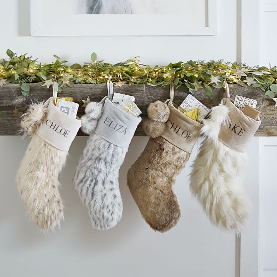 Gray and White Vintage Faux Fur Christmas Stocking