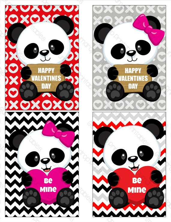 Panda Bear Valentine Cards Classroom Valentines Printable Valentines Cards Kids Red Black P Panda Card Panda Bear Valentine Cards Panda Valentine Cards