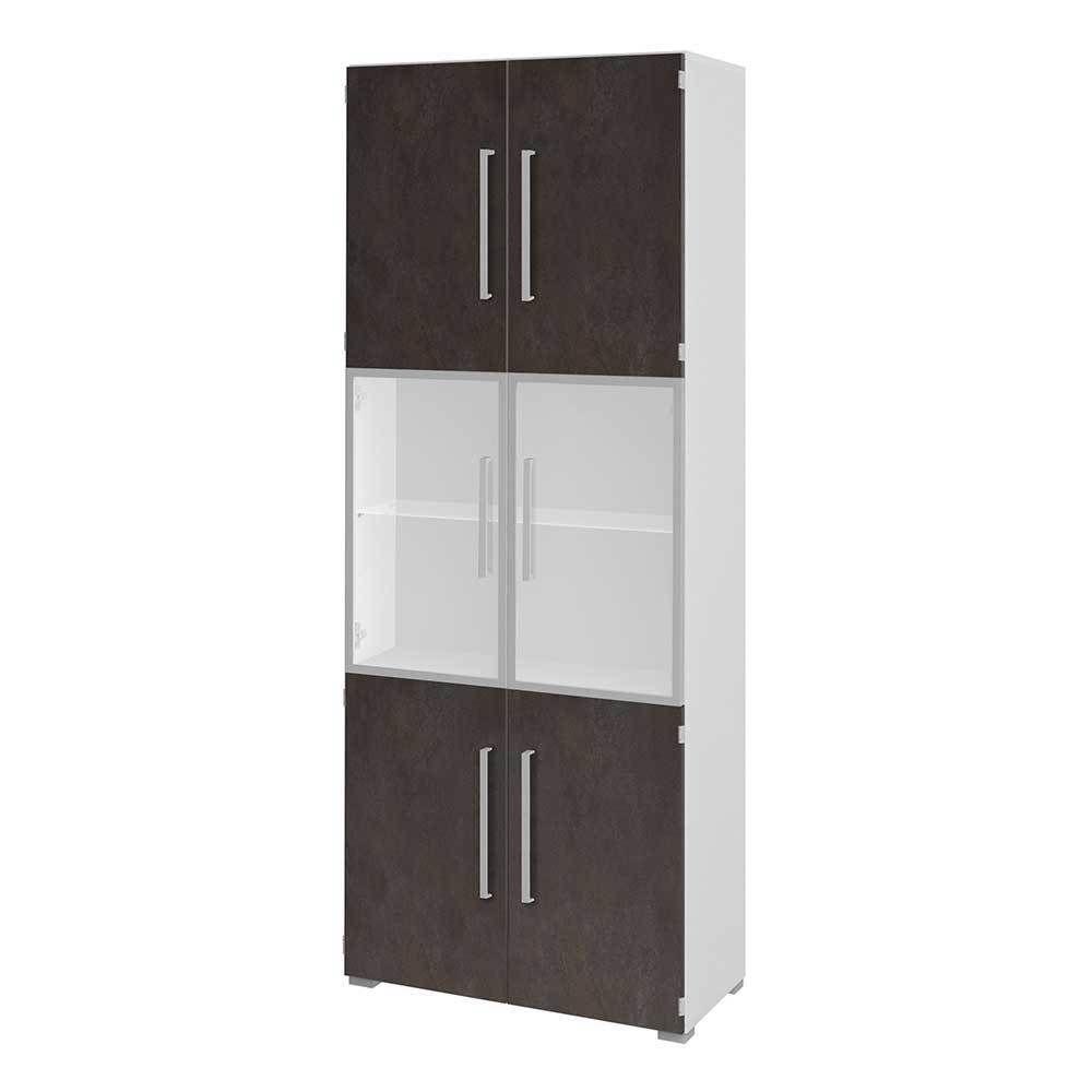 Büroschrank mit Glastüren Braun Weiß Jetzt bestellen unter: https ...