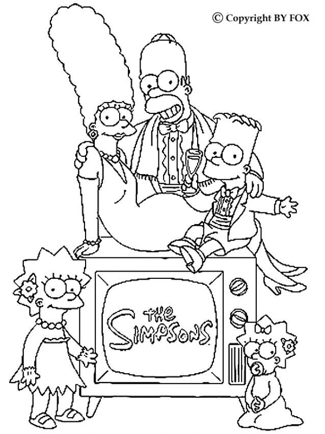 Simpsons Family portrait coloring page. More The Simpsons content on ...
