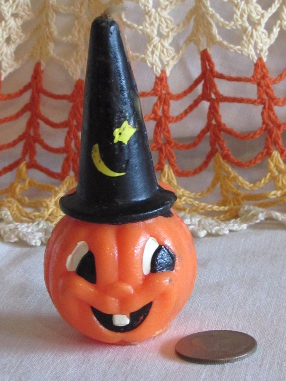 Vintage Pumpkin Jack O' Lantern with Wizard Hat by LasLovelies, $10.00