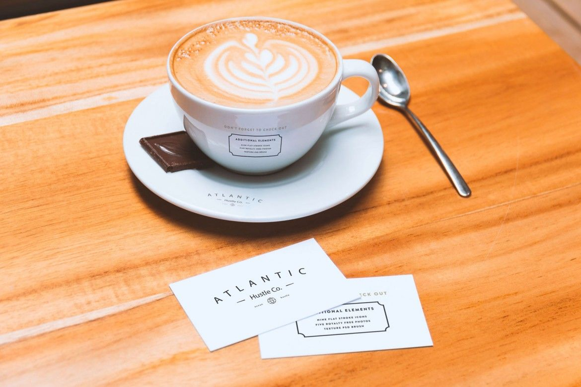 Business Cards and Coffee Cup Mockup by Original Mockups