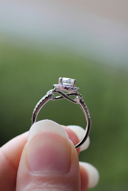 Diamond halo ring with infinity side view Infinity symbol Ring