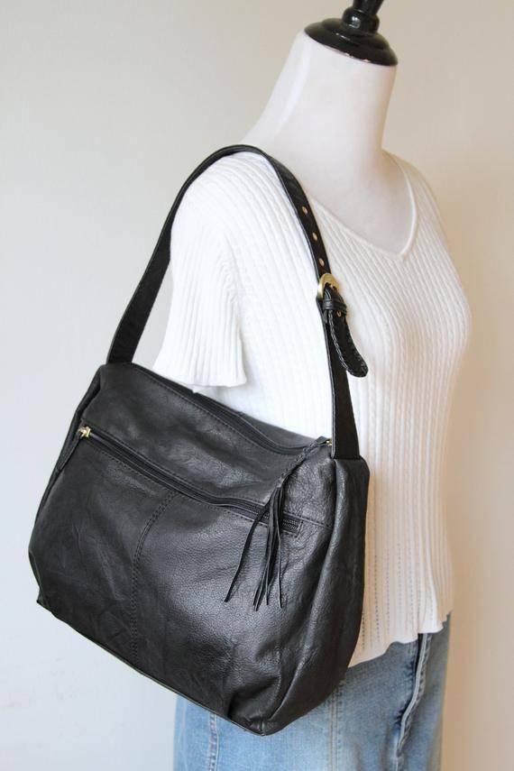 STONE MOUNTAIN Black Hobo Handbag / Large Leather Shoulder Bag / Vintage Stone Mountain Purse 091518