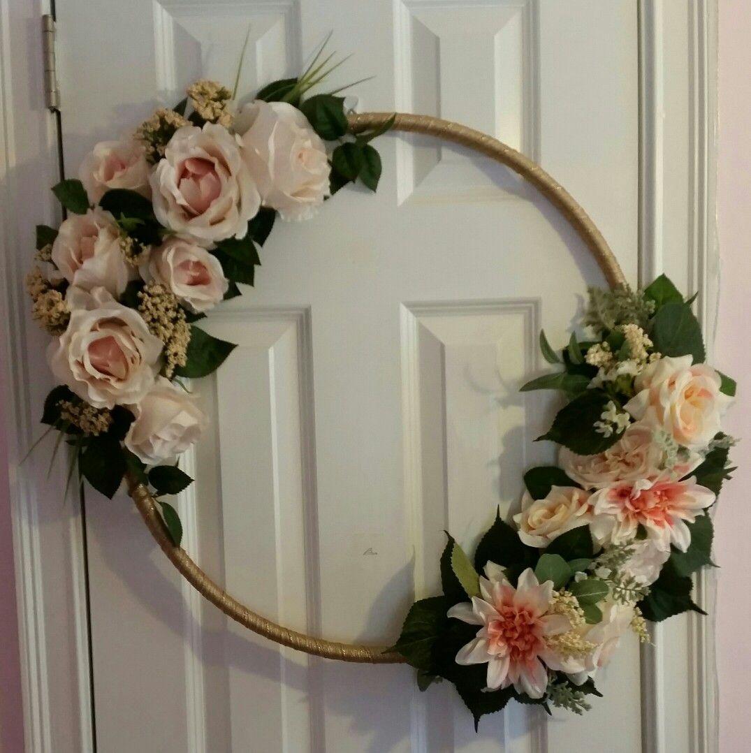 My latest Dollar Store DIY... a hula hoop wreath/photo