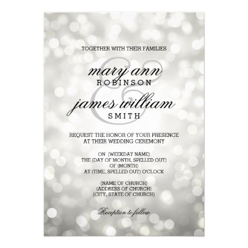 White Bokeh /& Silver Glitter Look Personalized Wedding Save The Date Cards