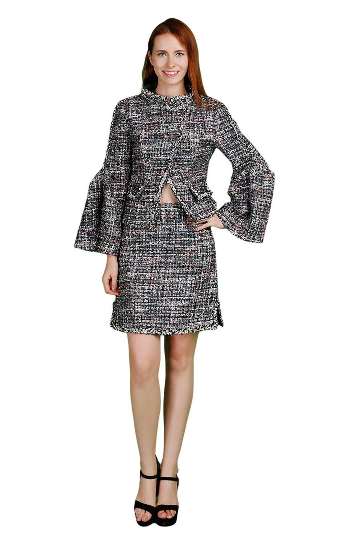 Viviankiki Woolen Petite Mandarin Sleeves Jacket & Pencil Mini Skirt