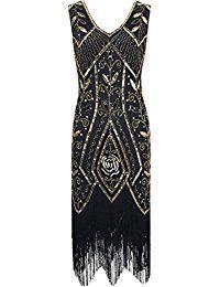 f1dd1c83b PrettyGuide Mujeres 1920s Inspirado Art Deco Lentejuela Con Flecos Vestido  de coctail Charleston S Oro