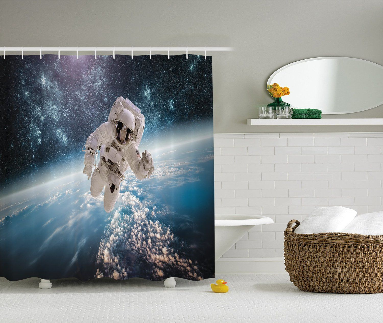 Amazon Com Astronaut Outer Space Planet Earth Digital Fabric Shower Curtain Exclusive To Your Curtain C Space Gift Outer Space Planets Fabric Shower Curtains