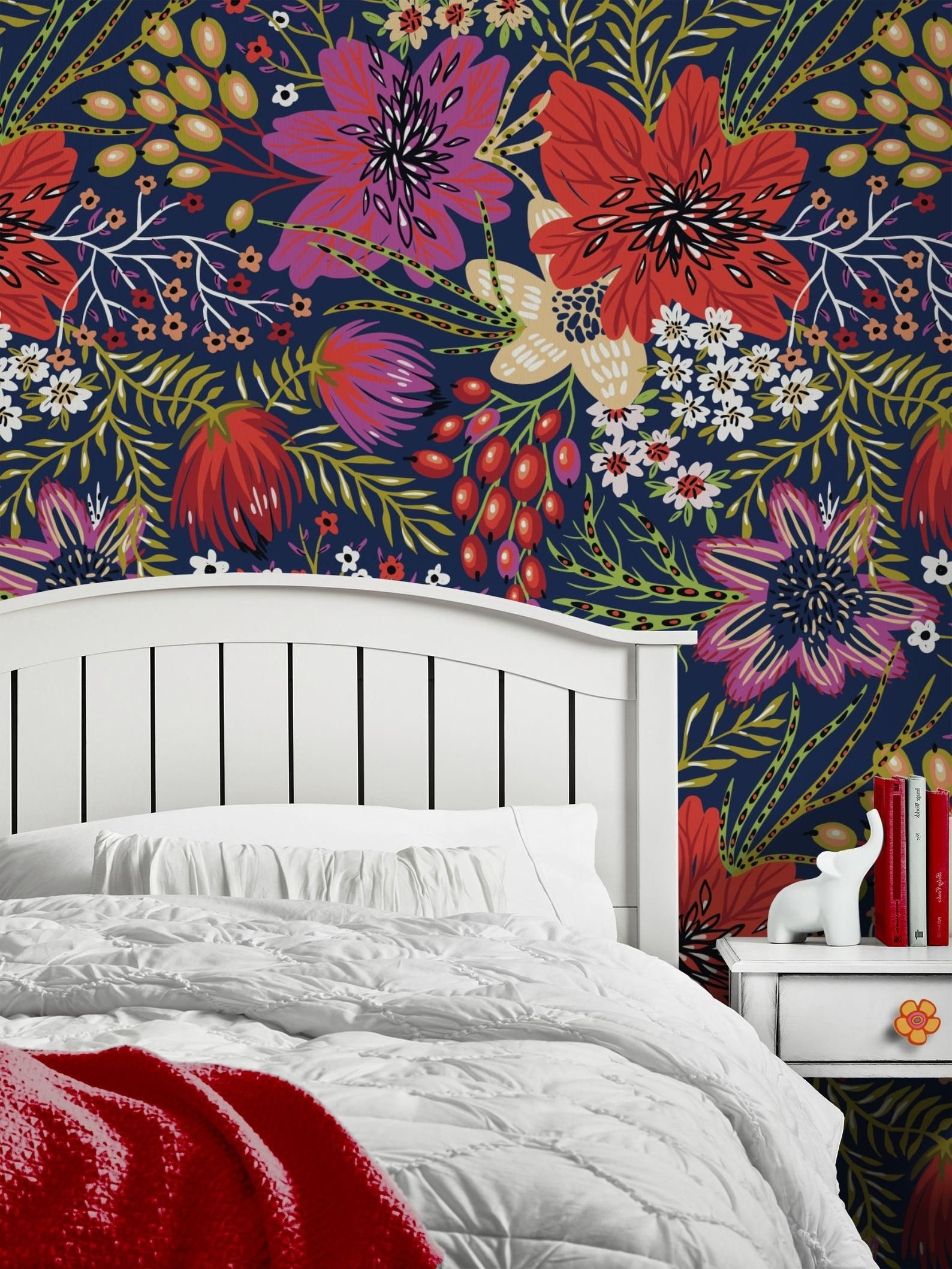 Bold Flowers Repositionable Wallpaper Peel And Stick Etsy Peel