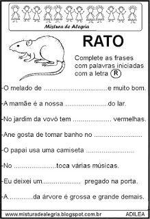 Fichas Leituras E Escritas Com R Atividades De Alfabetizacao
