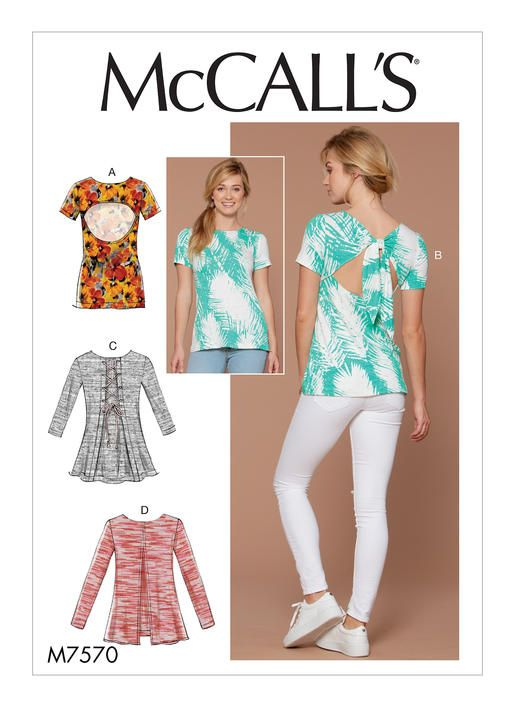 Mccalls Tops Sewing Pattern For Knits M7570 Misses Tied Laced