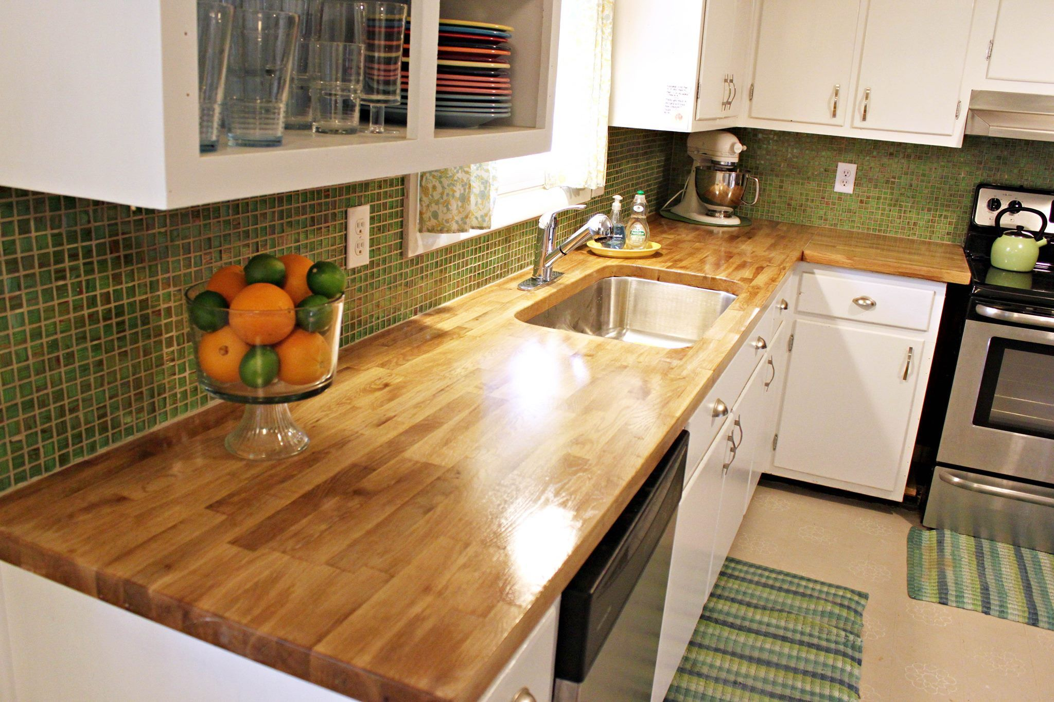 Furniture, Oak Wood Butcher Block Countertops For Small Kitchen Spaces With  White Wooden Cabinet And Green Mosaic Kitchen Tiles For Backsplash Ideas ...