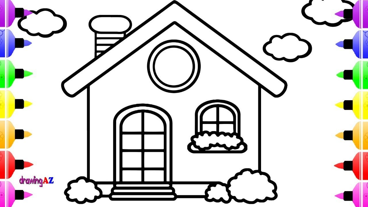 How to Draw Cute House for Kids Art Colour for Children ...