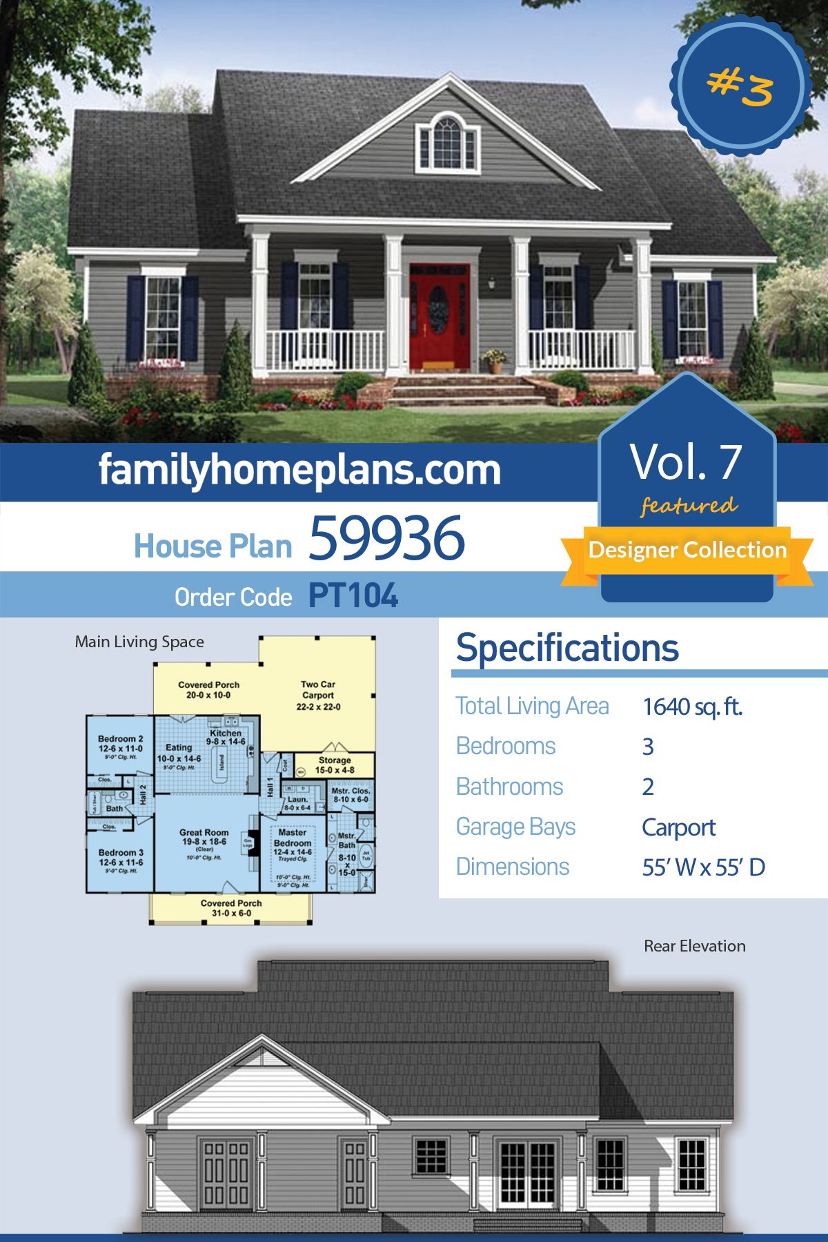 Traditional Style House Plan 59936 With 3 Bed 2 Bath 2 Car Garage Ranch House Plans Family House Plans House Plans