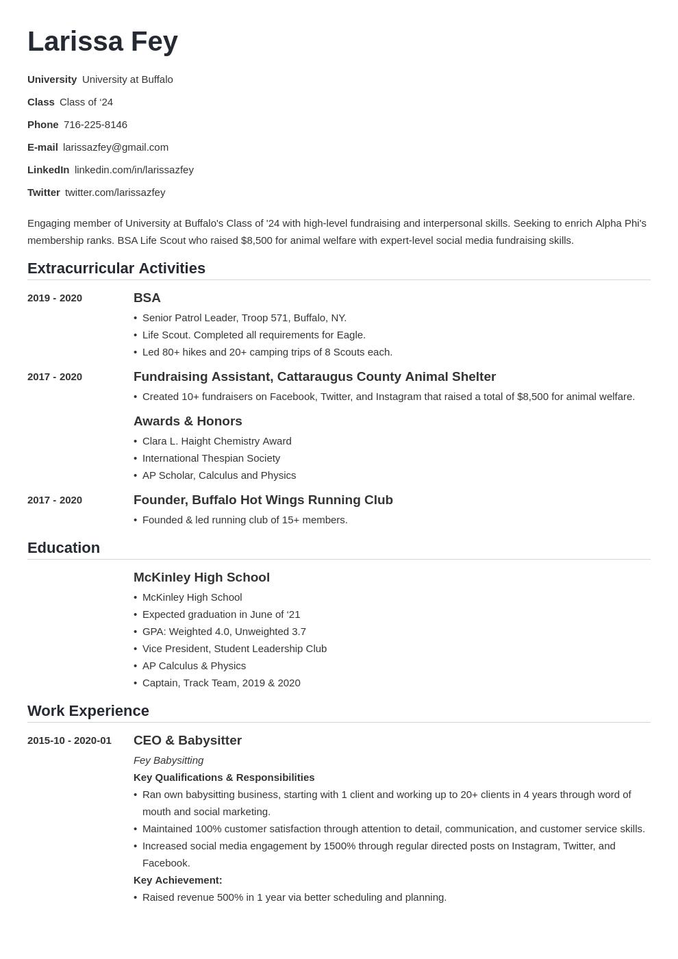 Sorority Resume Example Template Nanica Sorority Resume Resume Examples Job Resume Examples