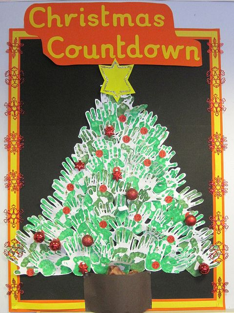 Christmas Tree Display Board.Christmas Count Down Tree Made With Handprints Christmas